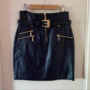 Guess Faux Leather Moto Mini Skirt w Gold Hardware